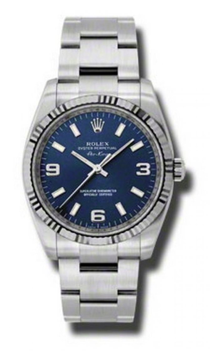 Rolex 114234 blao Oyster Perpetual Air-King 34mm Steel and White Gold - фото 1