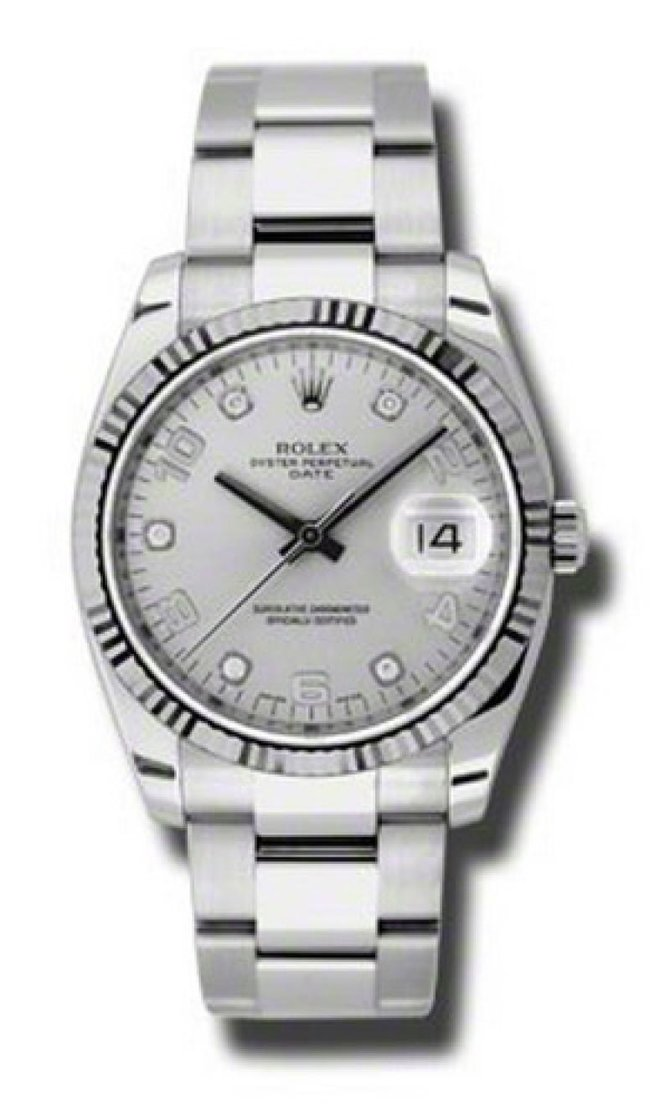 Rolex 115234 sdo Oyster Perpetual Date Steel and White Gold - фото 1