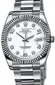Rolex Oyster Perpetual 115234 Silver D Date Steel and White Gold