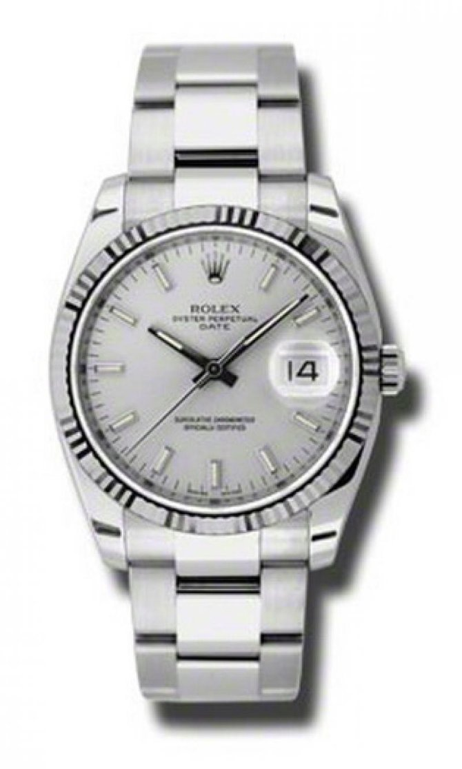 Rolex 115234 sso Oyster Perpetual Date Steel and White Gold - фото 1