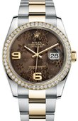 Rolex Datejust Ladies 116243 Bronze Floral 36mm Steel and Yellow Gold