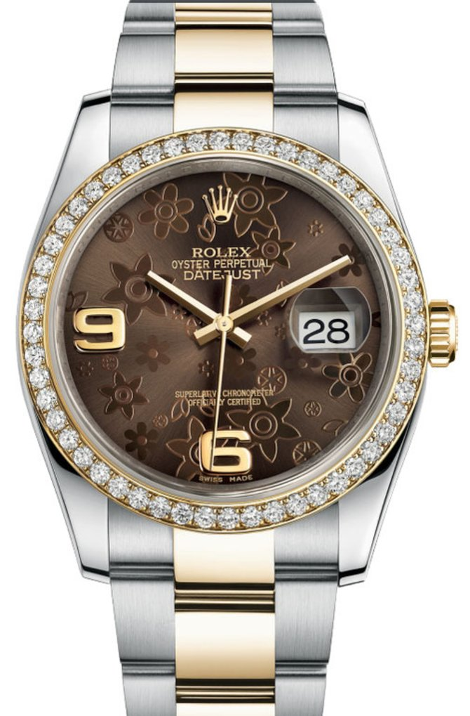 116243 Bronze Floral Rolex 36mm Steel and Yellow Gold Datejust Ladies