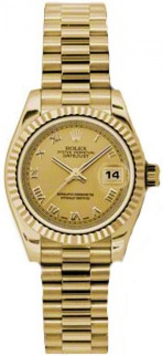 Rolex 179178 chrp Datejust Ladies 26mm Yellow Gold