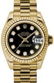 Rolex Datejust Ladies 179178 bkdp 26mm Yellow Gold