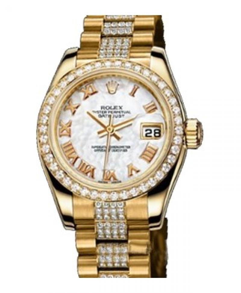 179138 White MOP Rolex 26mm Yellow Gold Datejust Ladies