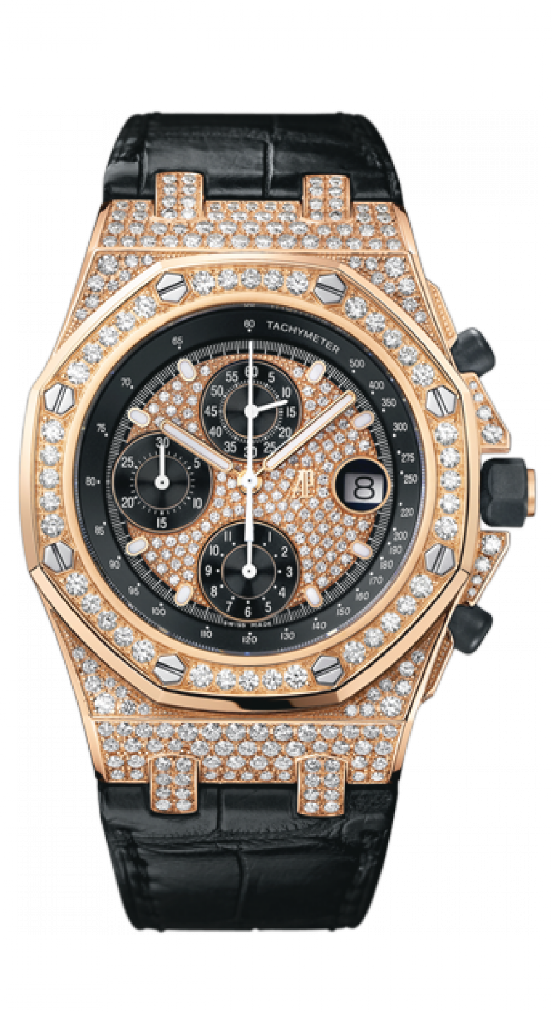 26067OR.ZZ.D002CR.01 Audemars Piguet Chronograph Gold Jeweled Royal Oak Offshore