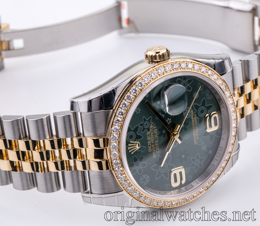116243 Green Floral dial Jublilee Rolex Datejust 36mm - Steel and Yellow  Datejust Ladies