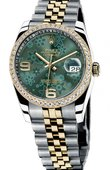Rolex Datejust Ladies 116243 Green Floral dial Jublilee Datejust 36mm - Steel and Yellow