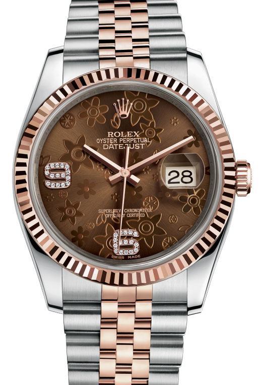 116231 brown floral diamonds dial Jubilee Rolex 36mm Datejust Ladies