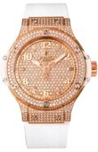 Hublot Big Bang 38mm Ladies 361.PE.9010.RW.1704 Red Gold All White Diamonds