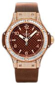 Hublot Big Bang 38mm Ladies 361.PC.3380.RC.0904 Red Gold Cappuccino Diamonds