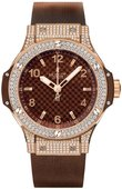 Hublot Big Bang 38mm Ladies 361.PC.3380.RC.1704 Red Gold Cappuccino Diamonds