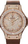 Hublot Big Bang 38mm Ladies 361.PC.9010.RC.1704 Red Gold Cappuccino Diamonds