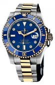 Rolex Submariner 116613 blue dial 8 diamond Date Steel and Yellow Gold
