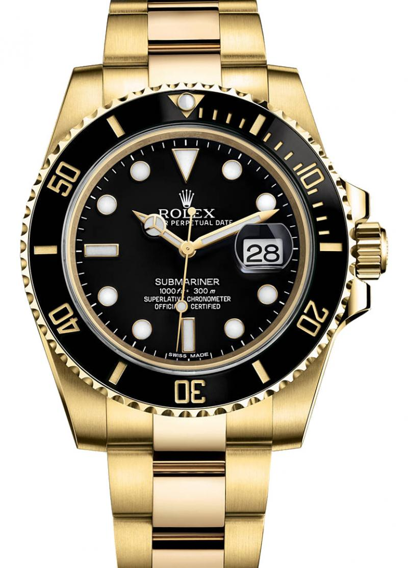116618LN Rolex Date Yellow Gold  Submariner