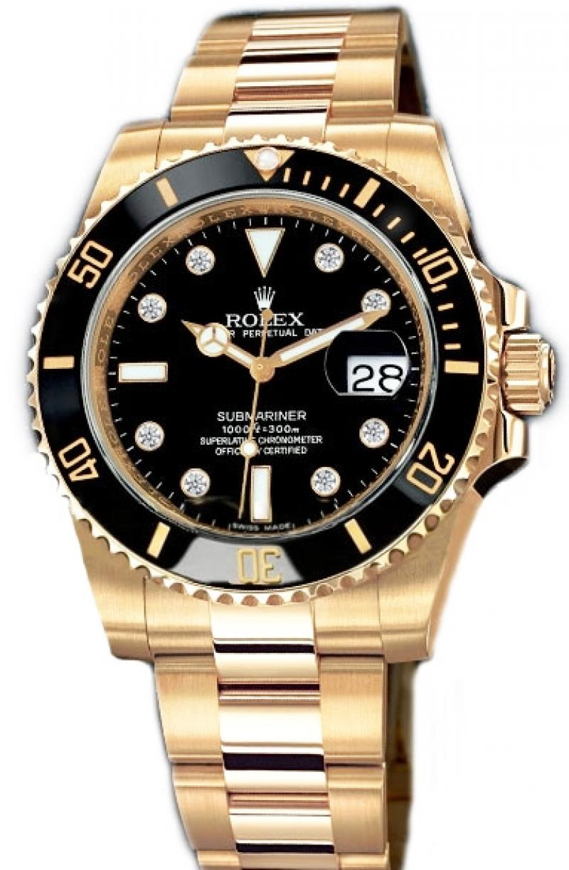 116618 black dial 8 diamond Rolex Date Yellow Gold Submariner