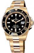 Rolex Submariner 116618 black dial 8 diamond Date Yellow Gold