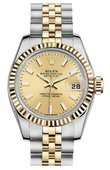 Rolex Datejust Ladies 179173 Champagne 26mm Steel and Yellow Gold