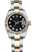 Rolex Datejust Ladies 179173 Black Jubilee D 26mm Steel and Yellow Gold