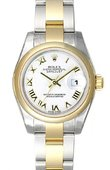 Rolex Datejust Ladies 179163 White Rome 26mm Steel and Yellow Gold