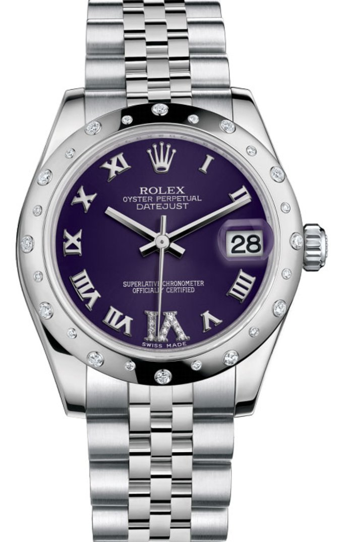 Rolex 178344 Purple Datejust 31mm Steel and White Gold