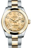 Rolex Datejust 178243 Champagne Floral 31mm Steel and Yellow Gold