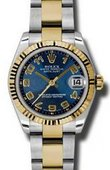 Rolex Datejust 178273 blcao 31mm Steel and Yellow Gold