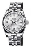 Rolex Datejust Ladies 179174 Silver D 26mm Steel and White Gold