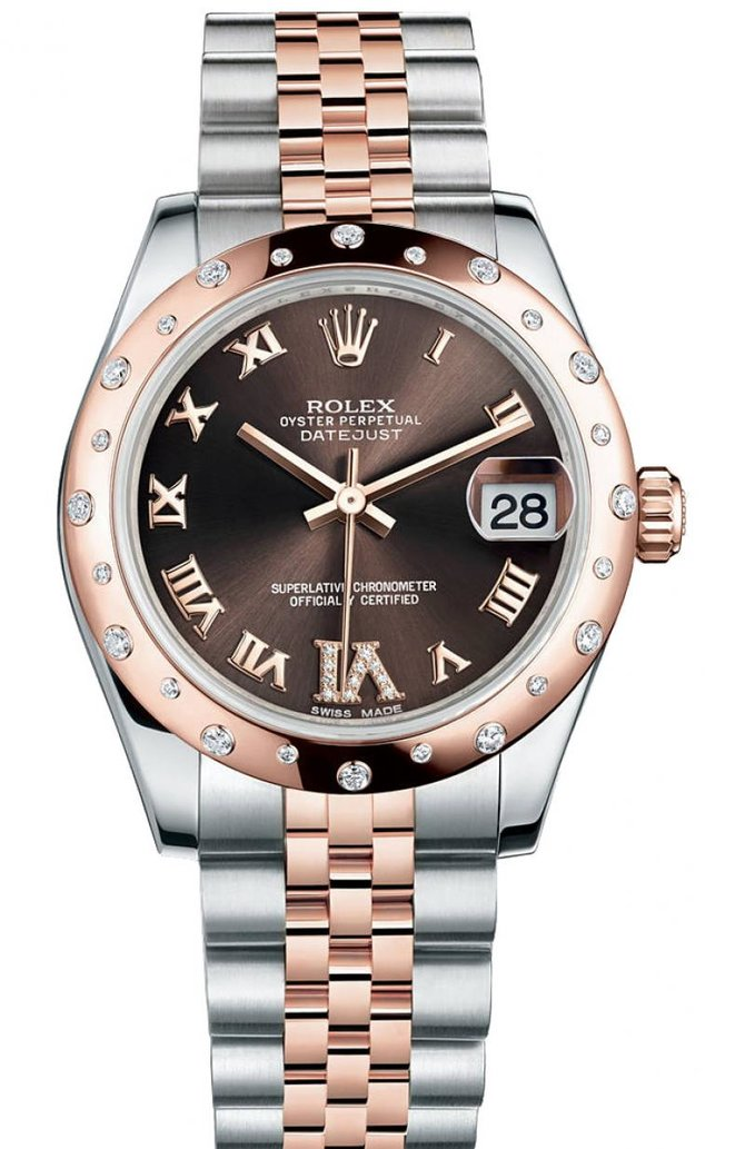 178341 Chocolate Jubilee Rolex 31mm Steel and Gold Everose Datejust Ladies