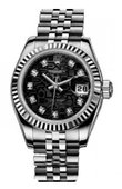 Rolex Datejust Ladies 179174 Black Jubilee D 26mm Steel and White Gold