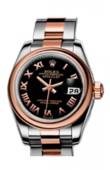 Rolex Datejust Ladies 179161 Black 26mm Steel and Everose Gold