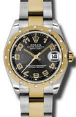 Rolex Datejust 178343 bkcao 31mm Steel and Yellow Gold